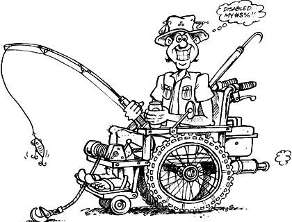 Adaptive Wheelchair Fishing Cartoon